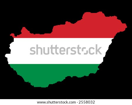 map of Hungary and Hungarian flag illustration