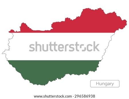 Map of Hungary with an official flag. Illustration on white background