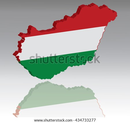 Map of Hungary with flag 3D, silhouette, reflection, EPS10 vector