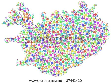 Map of Iceland (Europe) in a mosaic of harlequin circles - stock vector