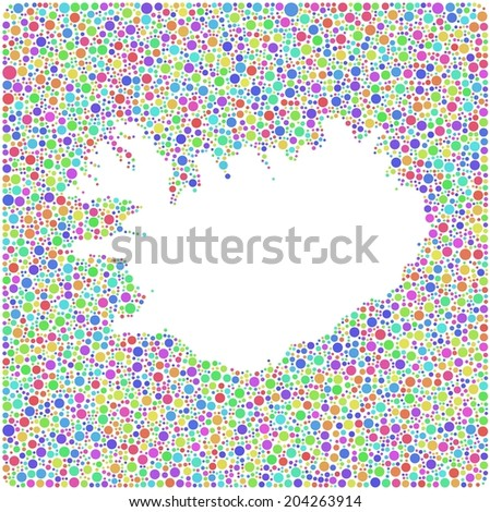 Map of Iceland - Europe - into a square icon. Mosaic of harlequin circles - stock vector