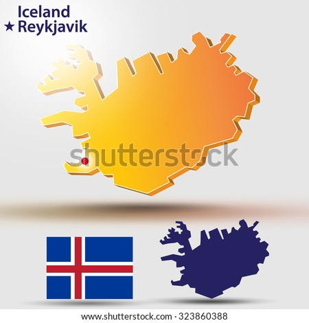 Map of Iceland. Vector silhouette of Iceland and flag. The country's capital - Reykjavik - stock vector