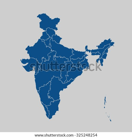 map of India - stock vector