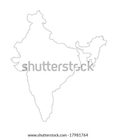 map of india on white background - stock vector