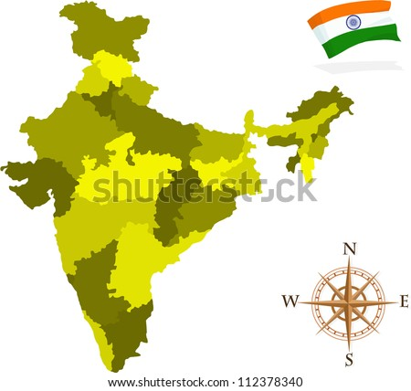 Map of India States - stock vector