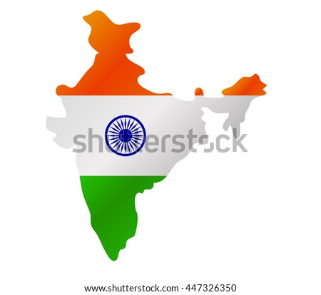 Map of India with flag