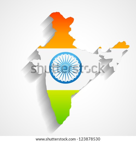 map of india with flag design - stock vector