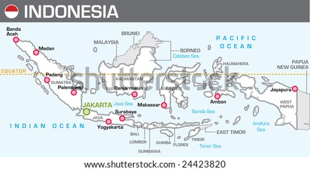 Map of Indonesia - stock vector