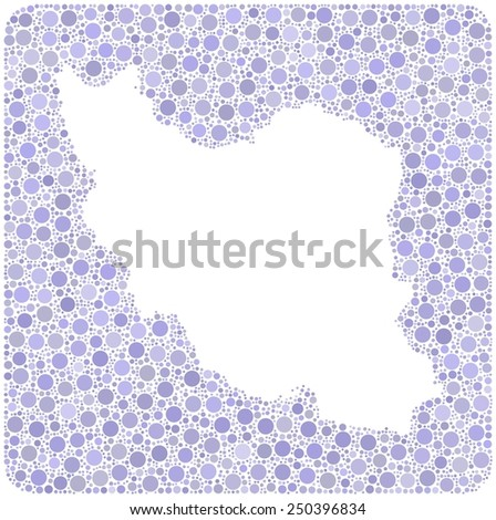 Map of Iran into a square icon. Mosaic of colored circles - stock vector