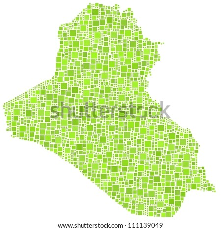 Map of Iraq - Middle East - in a mosaic of green squares. A number of 2204 little squares are accurately inserted into the mosaic.