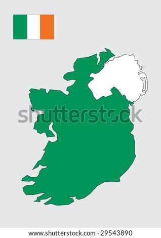Map of Ireland - stock vector
