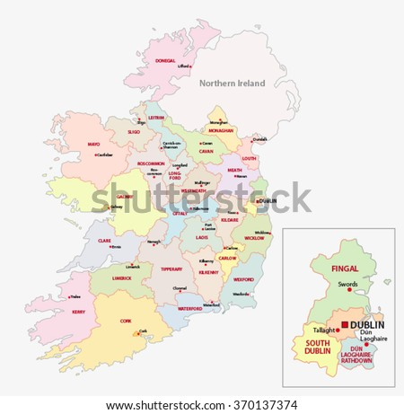 map of ireland administrative divisions on counties level - stock vector