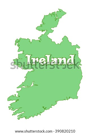 Map of Ireland. Green Ireland map isolated on white background. Map of Ireland country. High detailed silhouette illustration. Vector illustration - stock vector