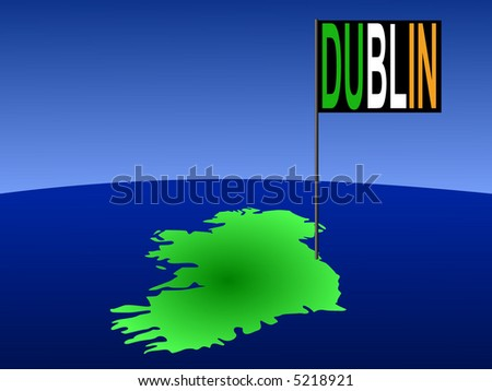 map of Ireland with position of Dublin marked by flag pole illustration