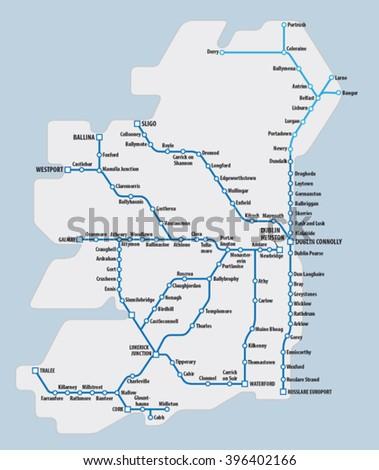 Map Ireland Schematic Railway Route Network Stock Vector 396402166 ...