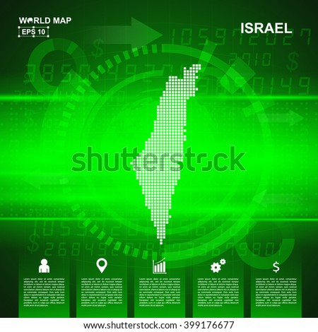 Map Of Israel,Abstract Green background, pixel vector illustration