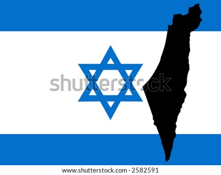 map of Israel and Israeli flag illustration - stock vector