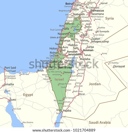 Map israel shows country borders urban stock vector 1021704889 map of israel shows country borders urban areas place names and roads gumiabroncs Gallery
