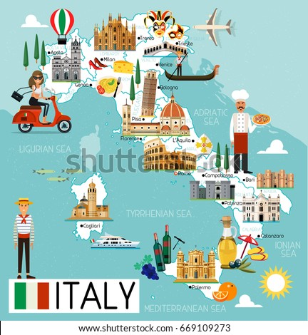 Map Italy Travel Iconsitaly Travel Map Stock Vector