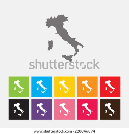 Map of Italy icon - Vector - stock vector
