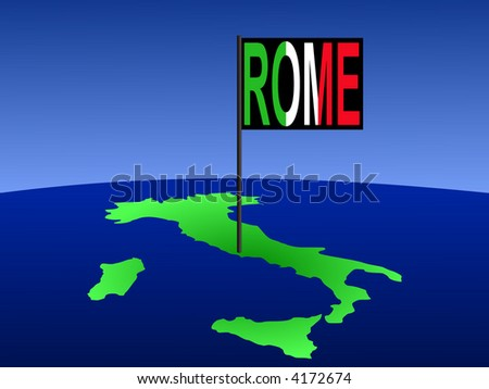 Map of Italy with Rome Italian flag