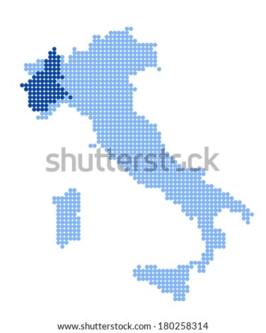 Map of Italy with stylized map of Piedmont made from blue dots (vector)