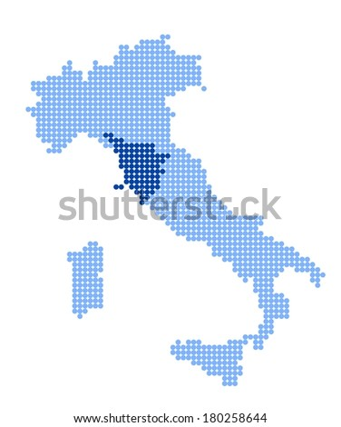 Map of Italy with stylized map of Tuscany made from blue dots (vector)