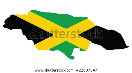 map of Jamaica and Jamaican flag illustration
