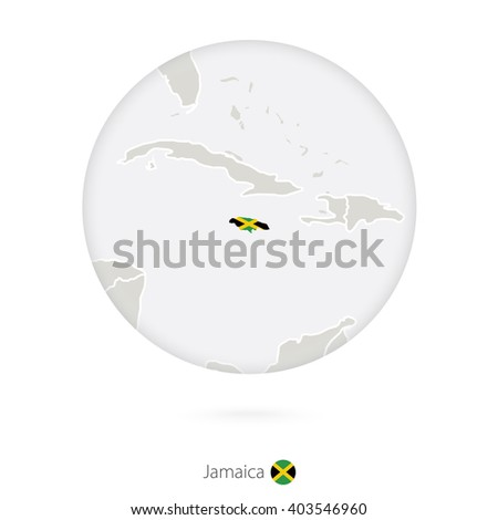 Map of Jamaica and national flag in a circle. Jamaica map contour with flag. Vector Illustration. - stock vector