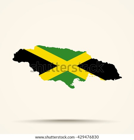 Map of Jamaica in Jamaica flag colors