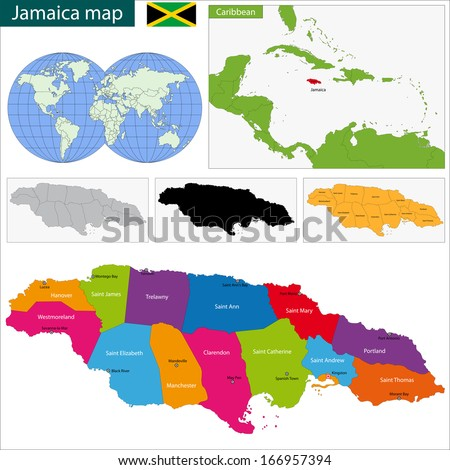 Map of Jamaica with the parishes the capital cities - stock vector