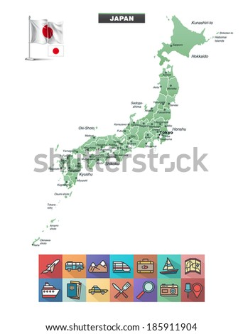 Map of Japan with travel icons - stock vector