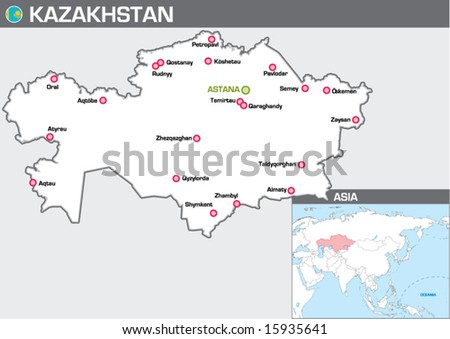 Map of Kazakhstan - stock vector