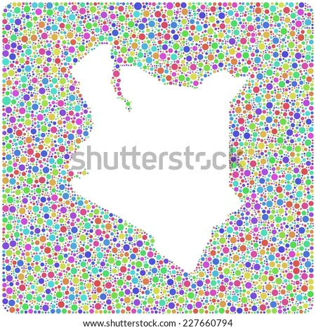 Map of Kenya - Africa - in a mosaic of harlequin circles - stock vector