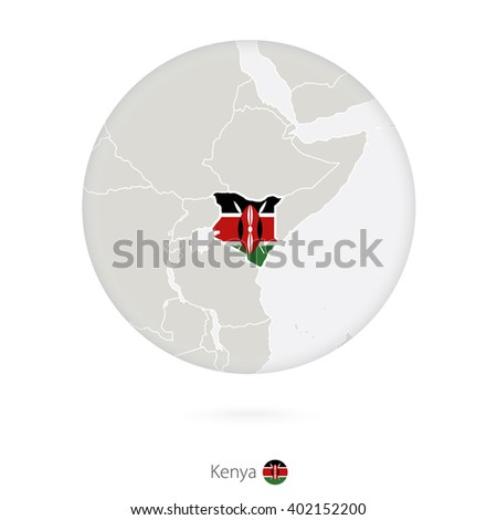 Map of Kenya and national flag in a circle. Kenya map contour with flag. Vector Illustration. - stock vector