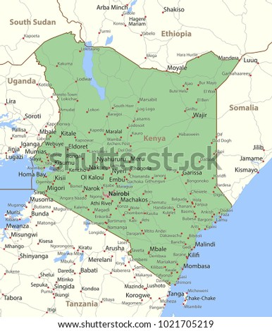 map of kenya shows country borders urban areas place names and roads