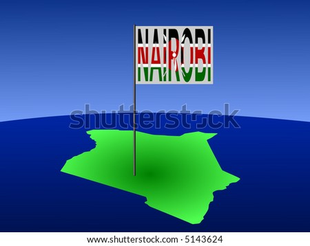 map of Kenya with position of Nairobi marked by flag pole illustration - stock vector