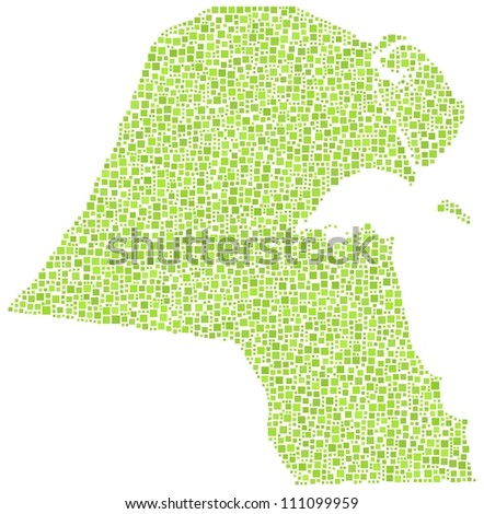 Map of Kuwait in a mosaic of green squares. A number of 3042 tiles are inserted into the mosaic