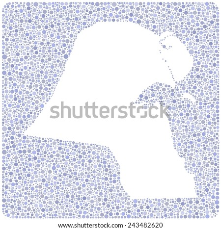 Map of Kuwait in a mosaic of little circles - stock vector