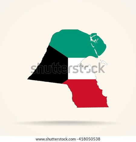 Map of Kuwait in Kuwait flag colors - stock vector