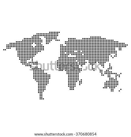 Map of land with circles on a  white background - stock vector