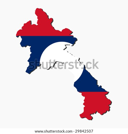 map of laos and Laotian flag illustration