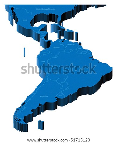 Map of Latin America with national borders and country names. Pseudo-3d vector illustration. - stock vector