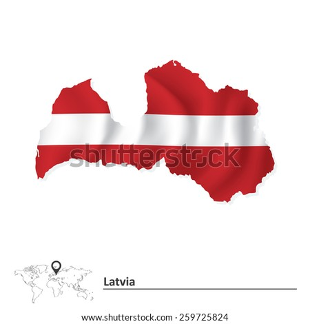 Map of Latvia with flag - vector illustration