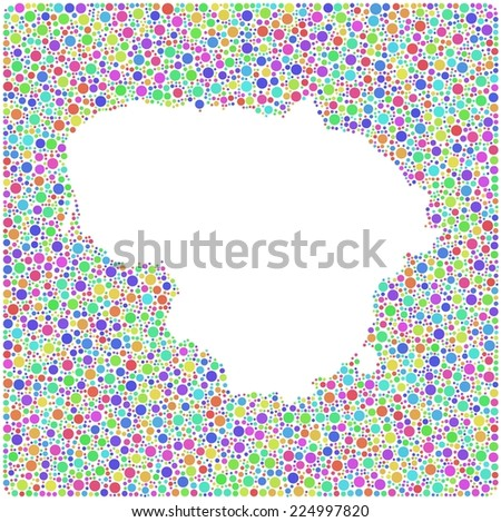 Map of Lithuania - Europe - in a mosaic of harlequin bubbles - stock vector