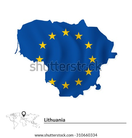 Map of Lithuania with European Union flag - vector illustration - stock vector
