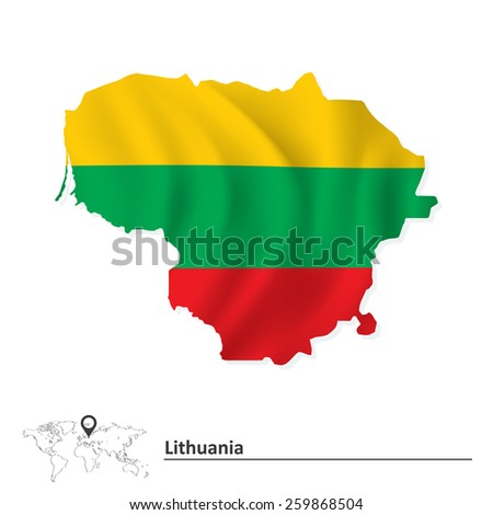 Map of Lithuania with flag - vector illustration - stock vector