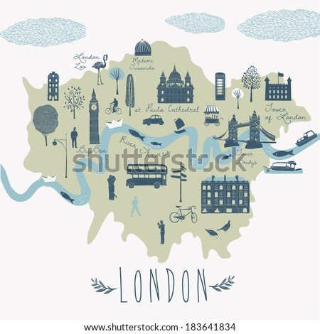 Map of London Attractions - stock vector