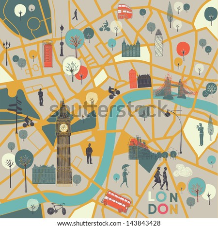 map of London's sights - stock vector