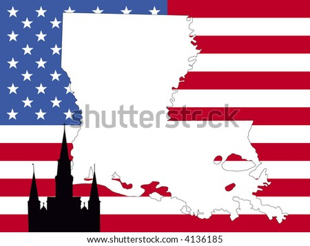 map of Louisiana on American flag with St Louis cathedral new Orleans - stock vector